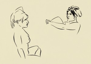 Two unfinished drawings of female figure