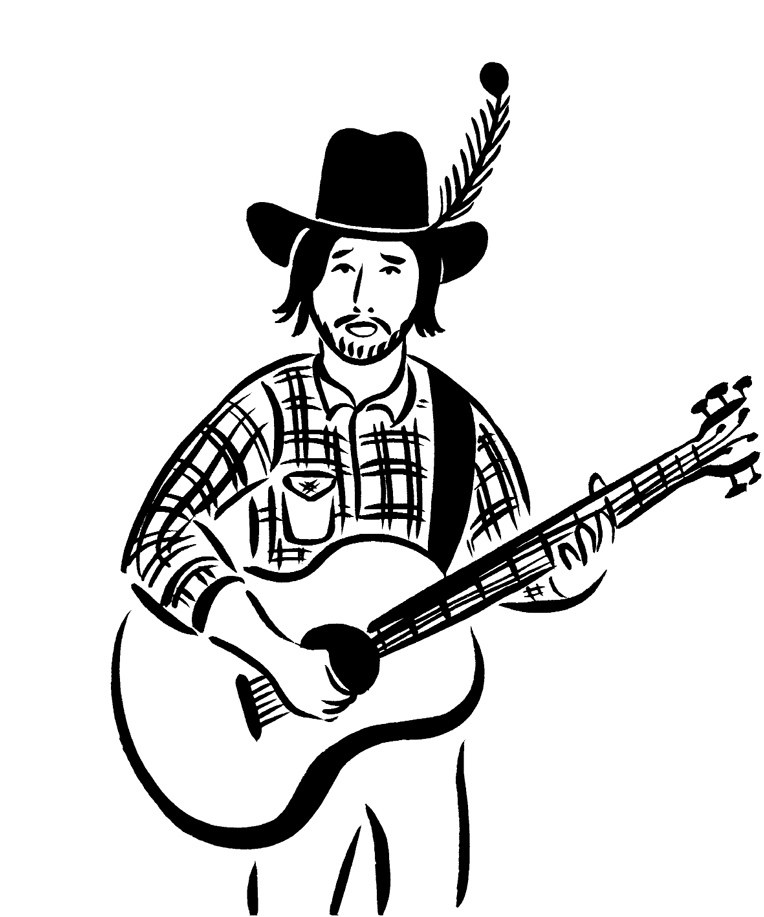 a black and white illustration of Ryan Bingham