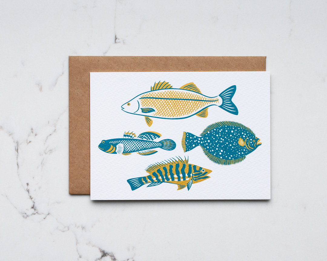 An illustrated greeting card featuring British fish