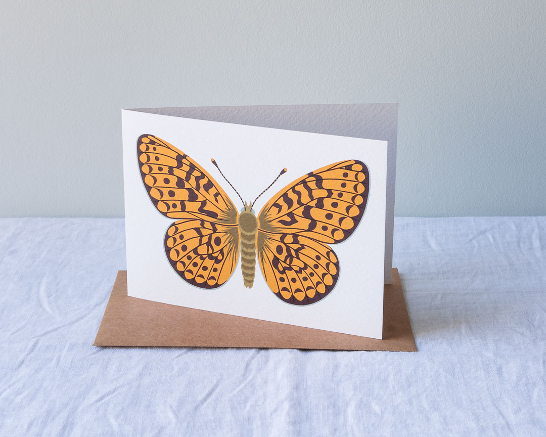 A greeting card of a fritillary butterfly