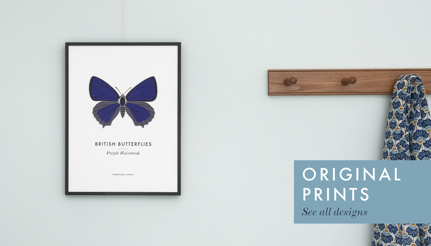 A purple butterfly print by Persephone Coelho