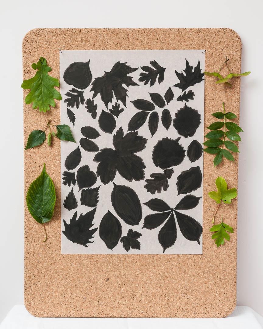 Original ink drawing of spring leaves