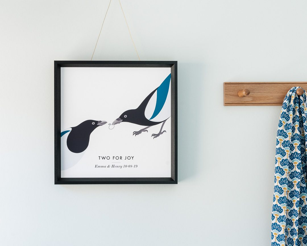 A customisable wedding print of two magpies