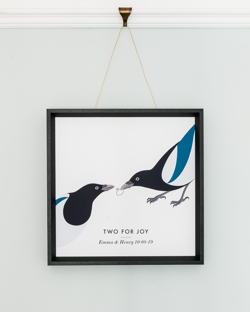 A giclee print of two magpies and a ring