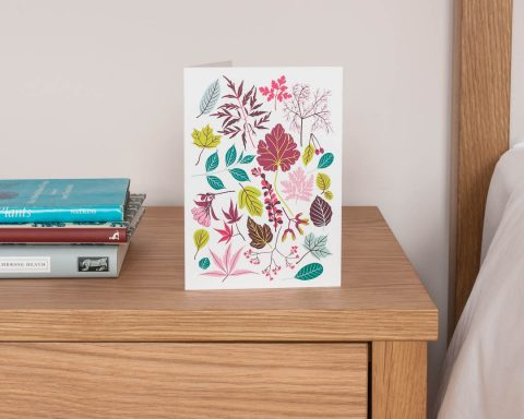 Summer leaves and flowers greeting card by Persephone Coelho