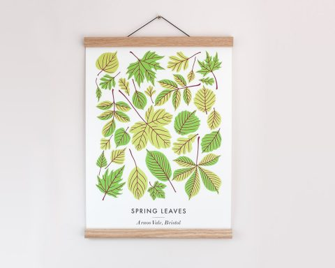 Poster of spring leaves illustrated by Persephone Coelho
