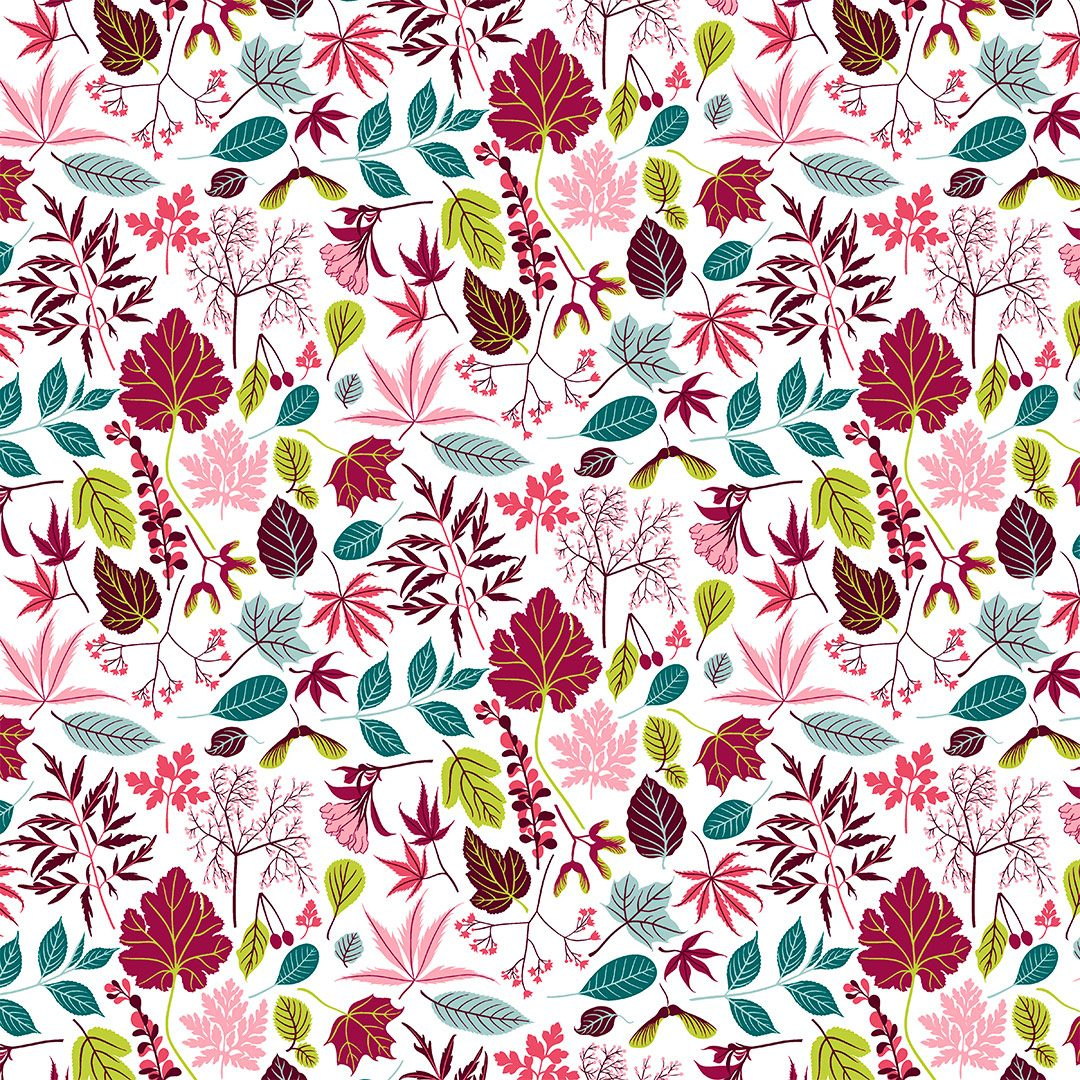 Wrapping paper red leaf design