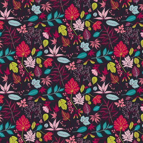 Dark wrapping paper with red leaves