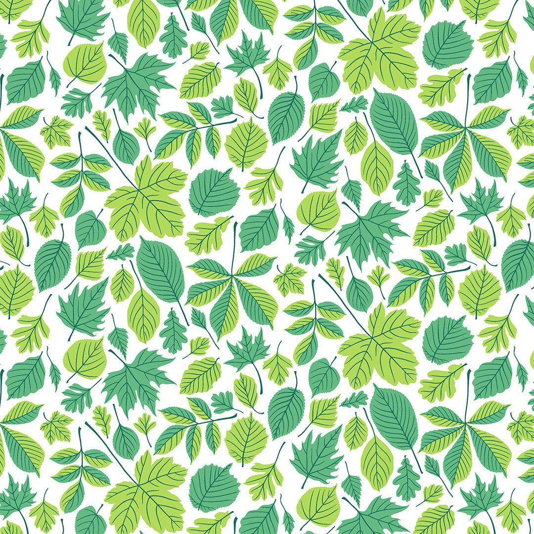 Wrapping paper pattern with green leaves