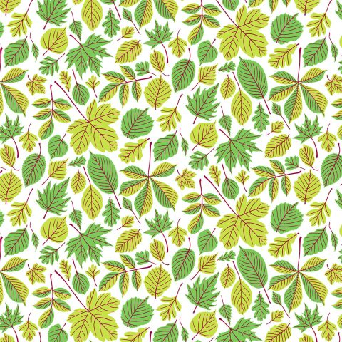 Wrapping paper pattern with bright green leaves