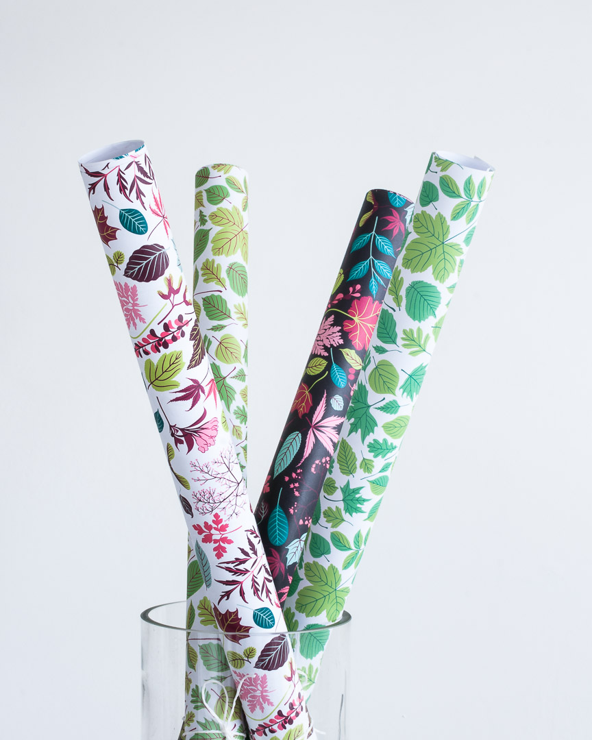 Rolls of wrapping paper with leaf patterns