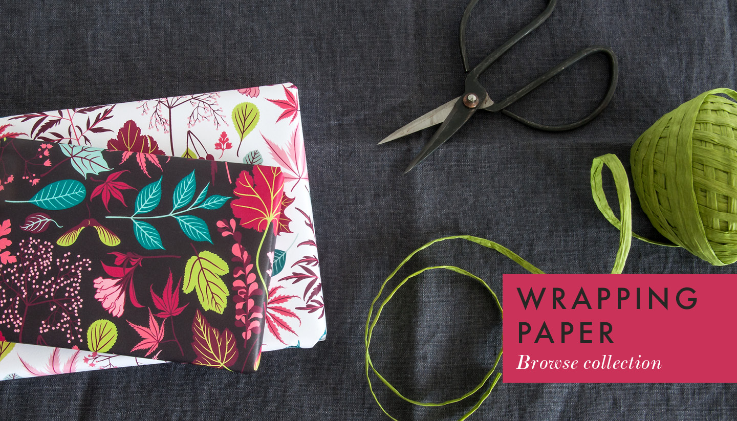 Illustrated botanical wrapping paper by Persephone Coelho